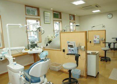 診療室です。患者様ごとにパーテーションで仕切られておりますので、安心して治療を受けていただけます。