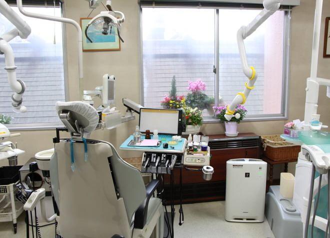 日当たりが良くお花の置いてある診療室