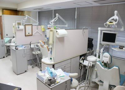 診療室です。パーティションで仕切られています。
