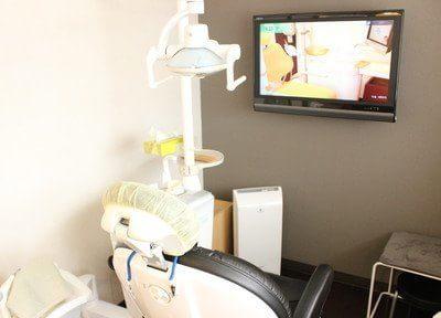 診療チェアにはモニターがついています。レントゲンや歯・顎の状態を患者様にも見ていただけます。