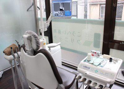 診療ユニットです。必要に応じてモニターを利用してご説明しております。