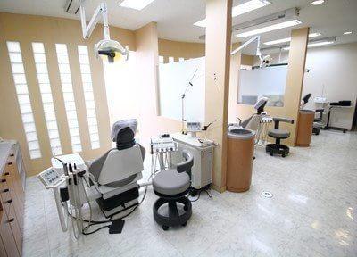 診察室です。パーテーションとすりガラスで区切ってありますので、プライバシーを守ります。