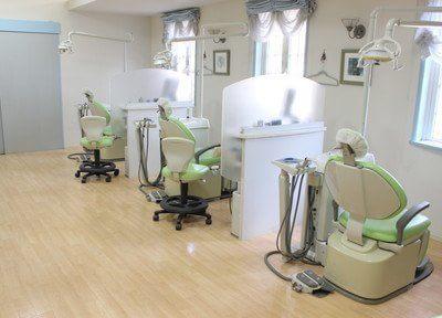 診療室です。仕切りで仕切られていますので、他の患者様を気にせずに治療を受けていただけます。