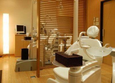 診療室です。木目調のおしゃれな診療室です。