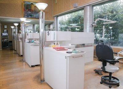 診療室です。パーテーションを設けた半個室となっております。
