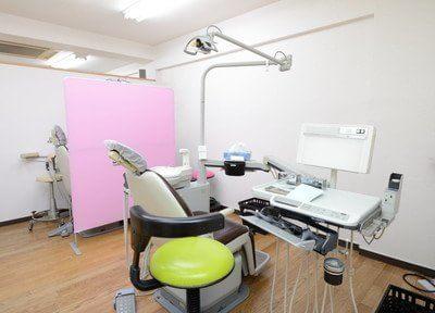 診察室はパーテーションで区切られております。