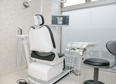 診療室です。モニターをご覧いただきながら治療を受けられます。
